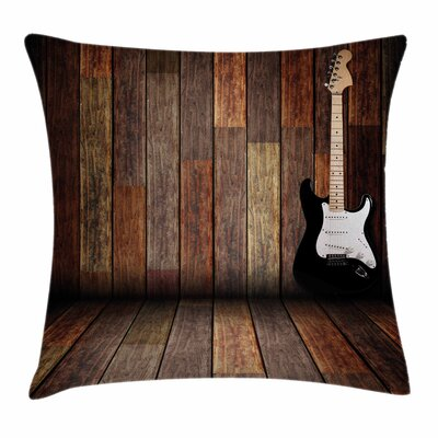 Guitar Wood Room Square Pillow Cover Size: 16 x 16