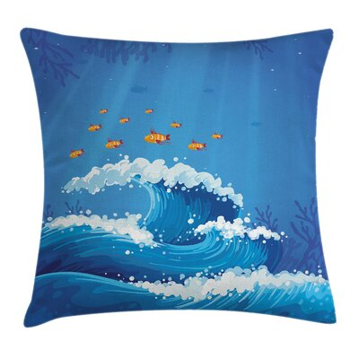 Fish and Wave in Ocean Cushion Pillow Cover Size: 24 x 24