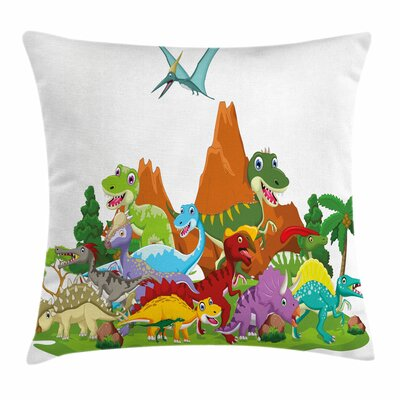Dinosaur Funny Creatures Trees Square Cushion Pillow Cover Size: 16 x 16