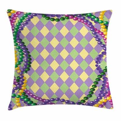 Mardi Gras Vivid Graphic Style Square Cushion Pillow Cover Size: 18 x 18