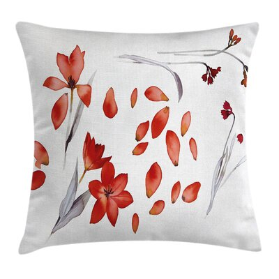 Autumn Flowers Petals Square Pillow Cover Size: 18 x 18