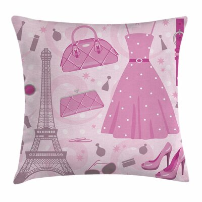 Heels and Dresses Paris Atelier Square Pillow Cover Size: 18 x 18