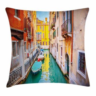 Vibrant Canal Gondolas Square Pillow Cover Size: 18 x 18