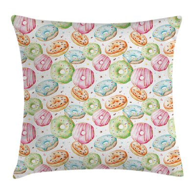 Delicious Sweet Donuts Square Pillow Cover Size: 16 x 16