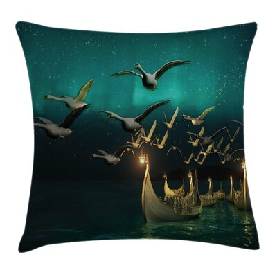 Fantasy Elf Boats Birds Swans Square Pillow Cover Size: 16 x 16