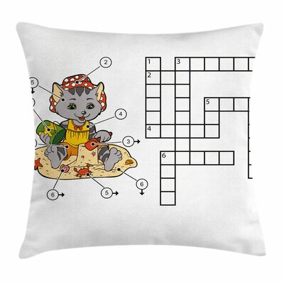 Puzzle Crossword Square Cushion Pillow Cover Size: 20 x 20