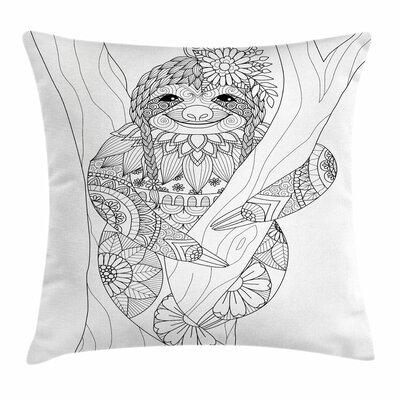 Sloth Cute Floral Detail Square Pillow Cover Size: 24