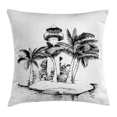 Lighthouse Island Tree Cushion Pillow Cover Size: 18 x 18