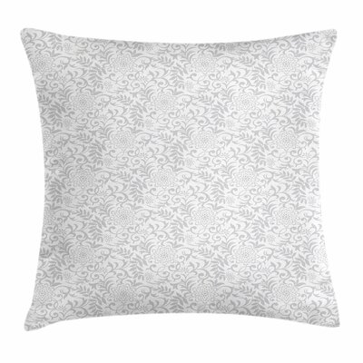 Ornate Carnation Flowers Square Cushion Pillow Cover Size: 24 x 24