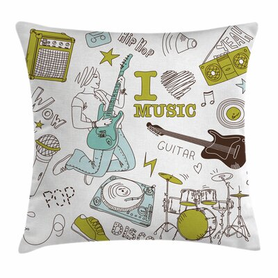 Love Music Sketch Square Pillow Cover Size: 24 x 24