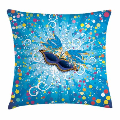 Mardi Gras Dots Swirls Square Cushion Pillow Cover Size: 24 x 24