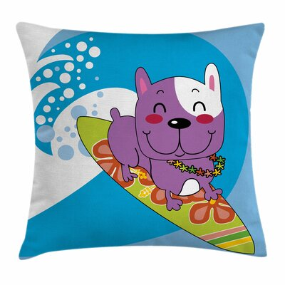 Cartoon Bulldog Square Cushion Pillow Cover Size: 18 x 18