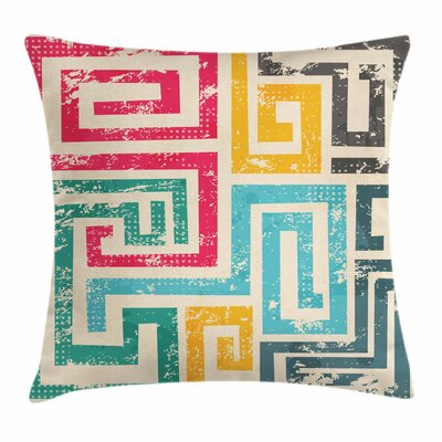 Vintage Spiral Square Cushion Pillow Cover Size: 24 x 24