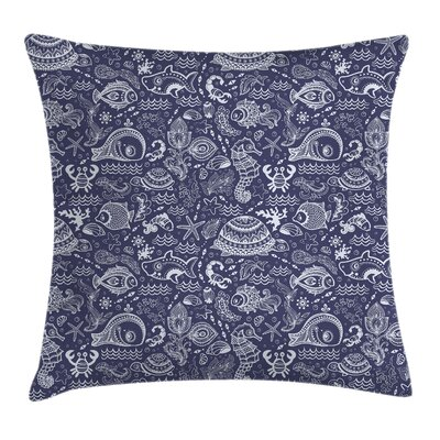 Shells and Plants Square Pillow Cover Size: 24 x 24