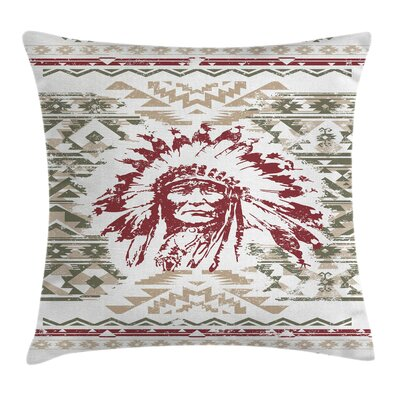 Vintage Chief Portrait Square Pillow Cover Size: 18 x 18