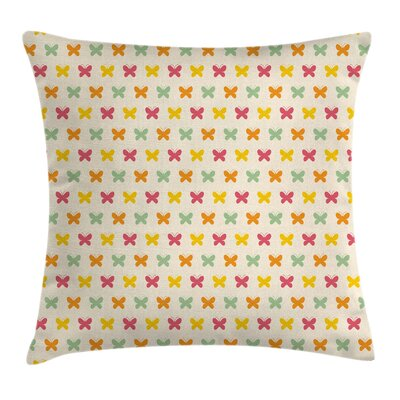 Vivid Toned Butterflies Square Pillow Cover Size: 24