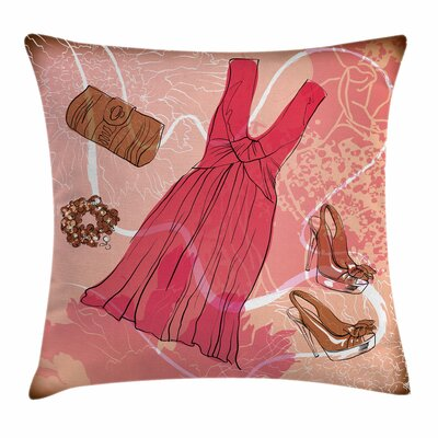 Heels and Dresses Floral Square Pillow Cover Size: 18 x 18