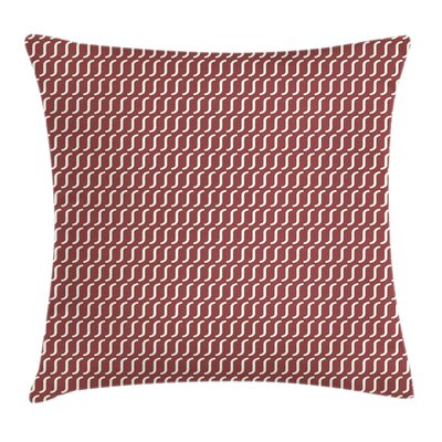 Cutrvy Wavy Lines Dark Tile Square Pillow Cover Size: 18 x 18