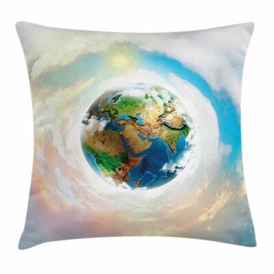 Earth Vibrant Planet Continents Square Pillow Cover Size: 16 x 16