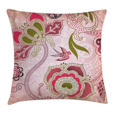 Swirl Leaf Lines Bohem Cushion Pillow Cover Size: 16 x 16