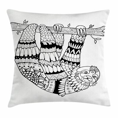 Sloth Figure Artistic Square Pillow Cover Size: 18 x 18
