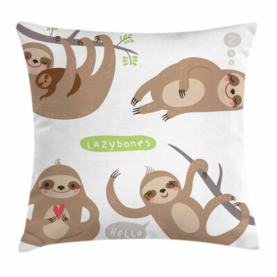 Sloth Kids Square Pillow Cover Size: 16 x 16