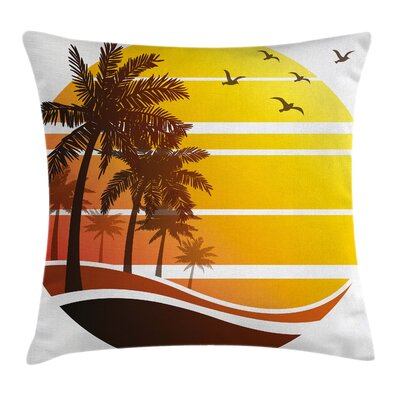 Sunset at Exotic Beach Square Pillow Cover Size: 16