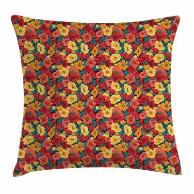 Anemone Retro Romantic Square Cushion Pillow Cover Size: 18