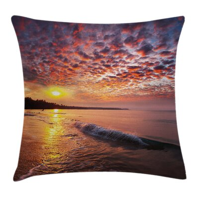 Dawn at Beach Seaside Square Pillow Cover Size: 24 x 24