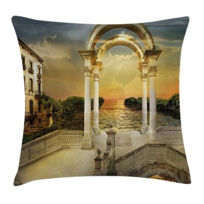 Fantasy Surreal Bridge Gateway Square Pillow Cover Size: 24 x 24