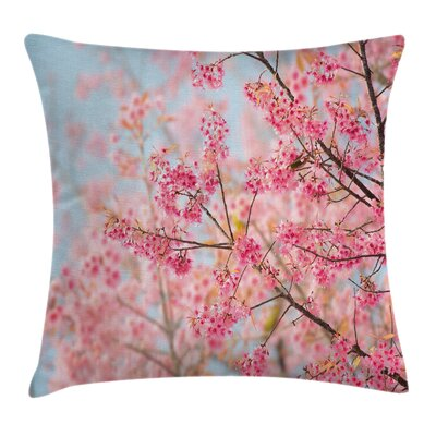 Japanese Sakura Cherry Cushion Pillow Cover Size: 18 x 18