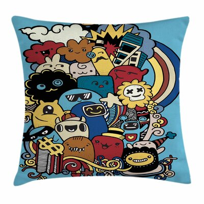 Various Monsters Universe Square Cushion Pillow Cover Size: 16 x 16