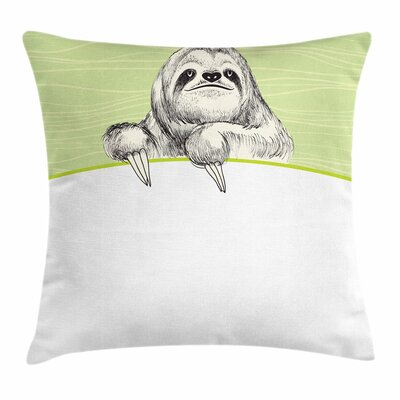 Idle Sloth Abstract Square Pillow Cover Size: 18 x 18