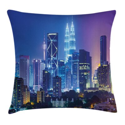 City with Lighting Pillow Cover Size: 18 x 18