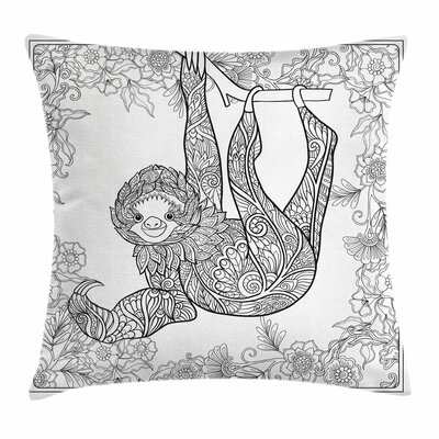Sloth Outline Drawing Jungle Square Pillow Cover Size: 24 x 24