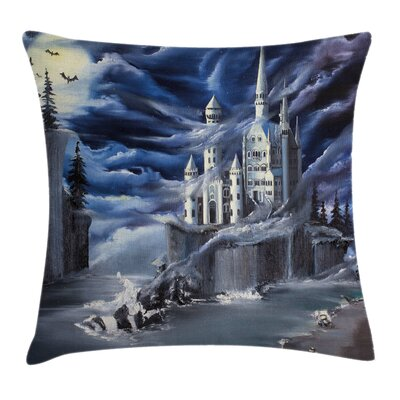 Fantasy Island Castle Full Moon Cushion Pillow Cover Size: 18 x 18