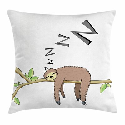 Arboreal Sloth Sleeping Square Pillow Cover Size: 16 x 16