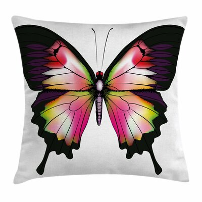 Swallowtail Vivid Magic Animal Square Cushion Pillow Cover Size: 16 x 16, Color: Pink