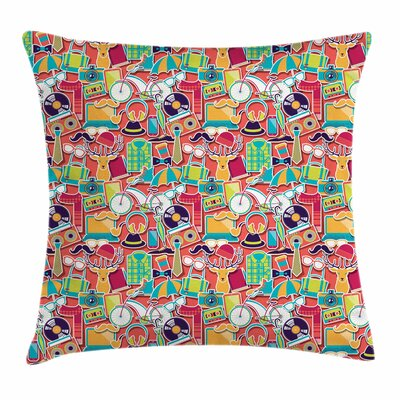 Retro Elements Square Cushion Pillow Cover Size: 18 x 18