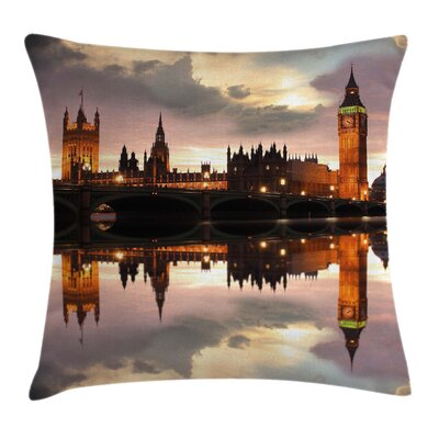 Evening Big Ben Square Pillow Cover Size: 24 x 24