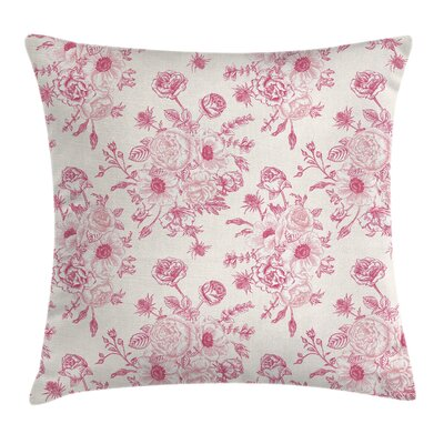 Romantic Rose Flowers Cushion Pillow Cover Size: 24 x 24