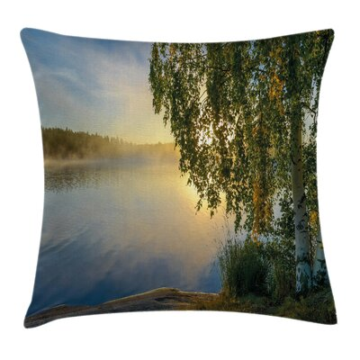 Tree Sunny Lake Summer Square Pillow Cover Size: 24 x 24