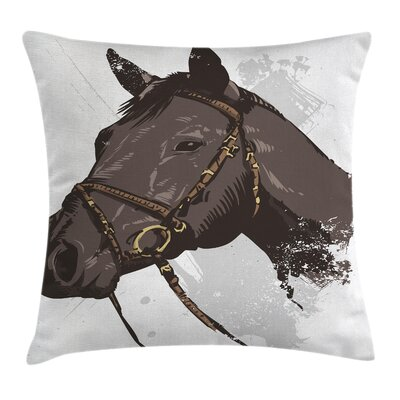 Equestrian Wild Horse Portrait Cushion Pillow Cover Size: 16 x 16