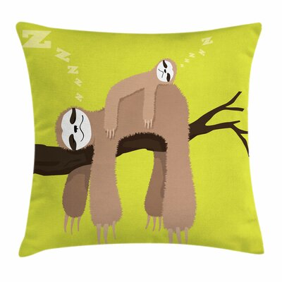 Sloth Cartoon Mother Sleeping Square Pillow Cover Size: 16 x 16
