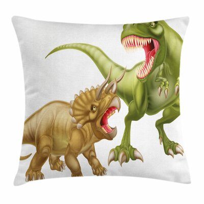Dinosaur Two Dinosaurs Fighting Square Cushion Pillow Cover Size: 18