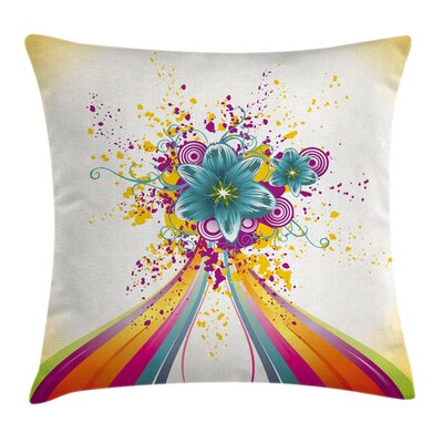 Modern Rainbow ed Buds Cushion Pillow Cover Size: 16 x 16