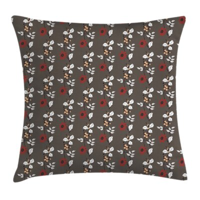 Blooms Leaves Branches Cushion Pillow Cover Size: 18 x 18