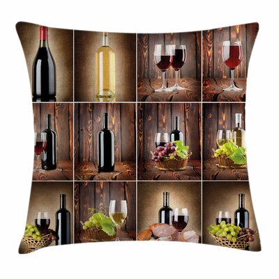 Wine Grapes Meat Drink Collage Square Pillow Cover Size: 24 x 24
