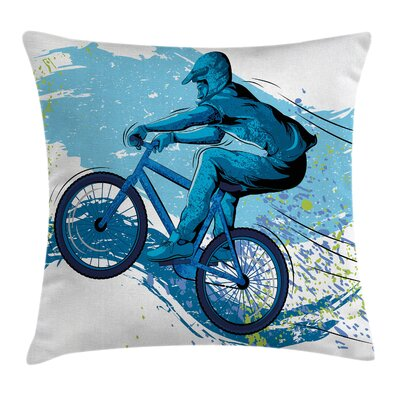 Bicyclist Splashes Square Pillow Cover Size: 16 x 16