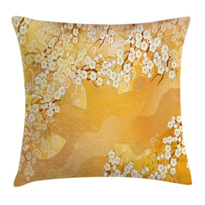 Japanese Cherry Blossom Sakura Cushion Pillow Cover Size: 16 x 16